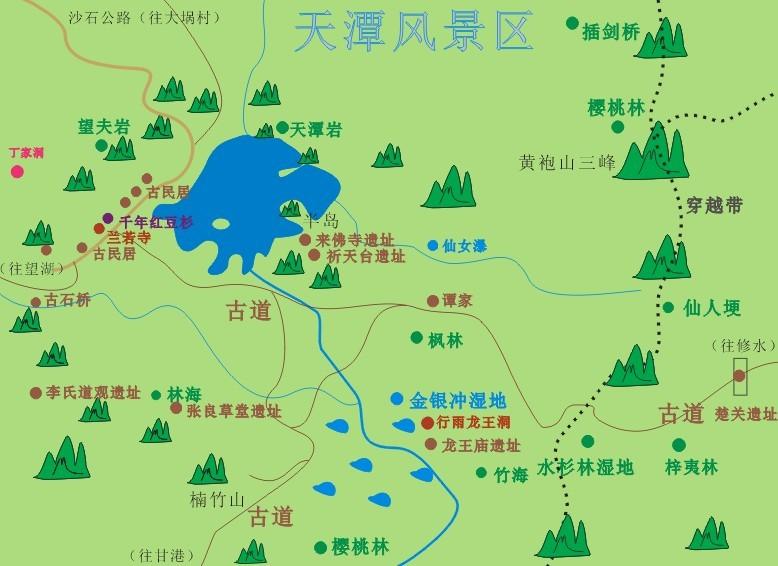 天潭风景区旅游地图__黄袍山旅游网